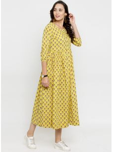 Varanga Yellow Printed Dress