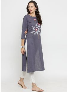 Varanga Grey Solid Straight Embroidered Kurta with White Solid Pencil Pants