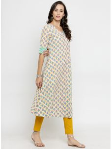 Varanga Ivory Printed A Line Kurta with Mustard Pencil Pants