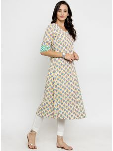 Varanga Ivory Printed A Line Kurta with White Pencil Pants
