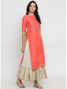Varanga Coral Solid Embroidered Chanderi Kurta with Ivory Gold Skirt