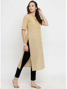 Varanga Tan Solid Straight Kurta with Black Solid Pencil Pants