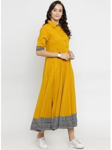 Varanga Mustard Flared Dress with Border