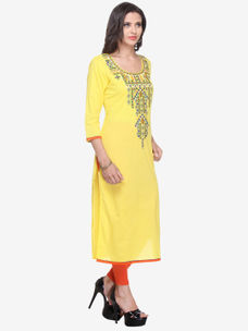 Varanga Yellow Cotton Solid/Plain Kurta