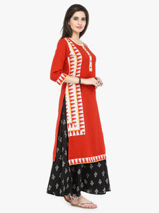 Varanga Red Flex Printed Kurta