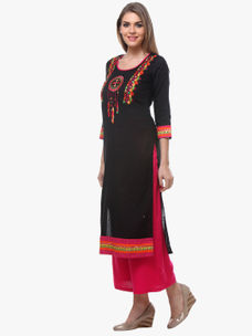 Varanga Black Embroidered Cotton Kurta