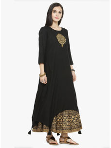 Varanga Black Embroidered Kurta with Black Printed Skirt