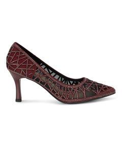 Burgundy Mesh Embellished Heels