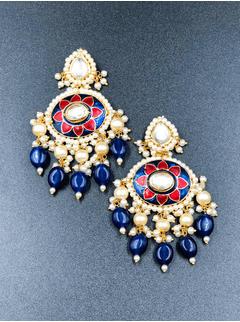 Blue & Red Flower Meena Earrings