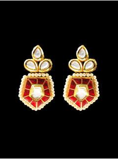 Red Hexa Drop Earring