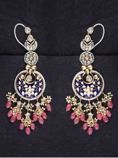 Shades Of Blue Chandbaalis With Pink Drops