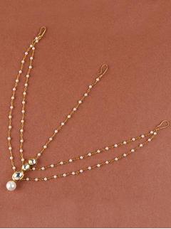 Kundan And Pearl Layered Maang Tikka