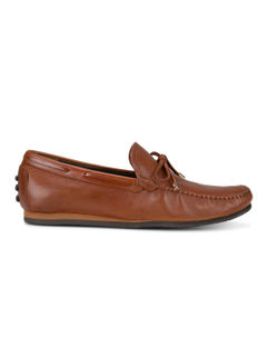 Tan Leather Bow Moccasins