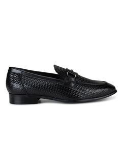 Black Embellished Weave Loafers