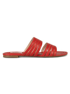 Red Plain Leather Slides