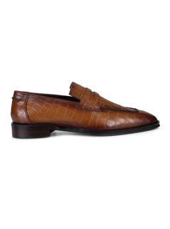 Tan Croco Effect Loafers