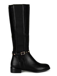 Black Embellished Calf Length Boots