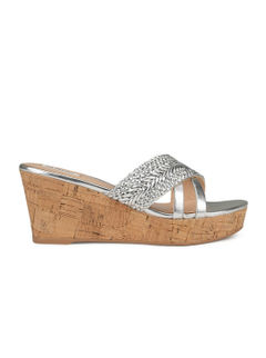 Silver Wedges With Woven Pattern