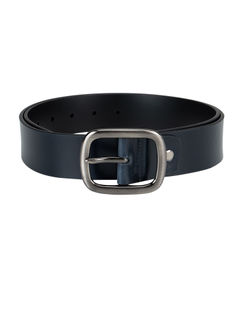 Blue Plain Leather Belt