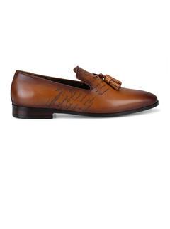 Tan Signato Leather Loafers