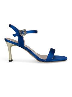 Blue Ankle Strap Stiletto Heels