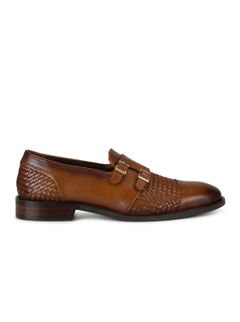 Tan Woven Patterned Loafers