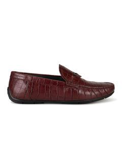 Burgundy Leather Moccasins