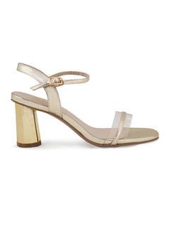 Gold Ankle Strap Block Heels