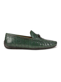 Green Croco Pattern Loafers