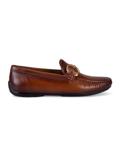 Tan Buckled Leather Moccasins