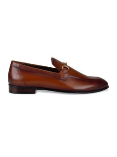Tan Metal Buckled Loafers