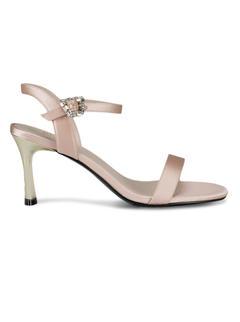Beige Ankle Strap Stiletto Heels