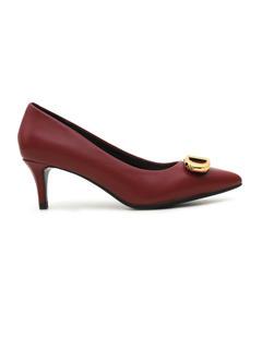 Burgundy Heels With Metal Embellishment