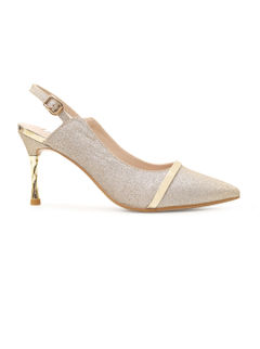 Shimmery Golden Heels With Golden Stripe
