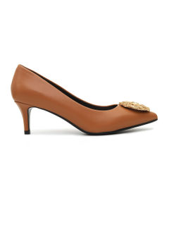Tan Heels With Metal Embellishment