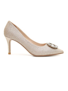 Shimmery Gold Pumps With Studded Buckle