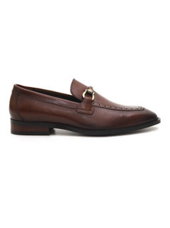 Textured Penny Buckle Loafers