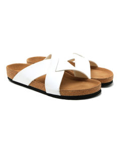 Cygna Cross strapped silver/white slippers