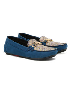 Women's driving shoe with paisley print - Blue