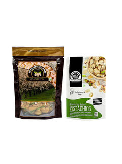 Raw Cashews 200gm + Roasted & Salted Pistachios 100gm