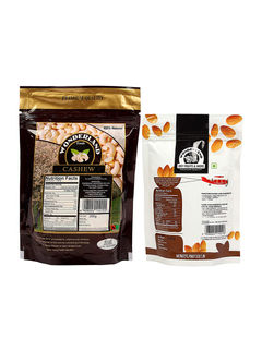 Raw Cashews 200gm + Roasted & Salted Almonds 100gm