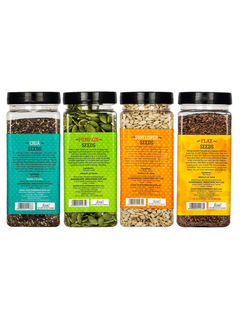 Roasted Chia Seeds 200gm + Pumpkin Seeds 200gm + Sunflower Seeds 200gm + Flax Seeds  200gm