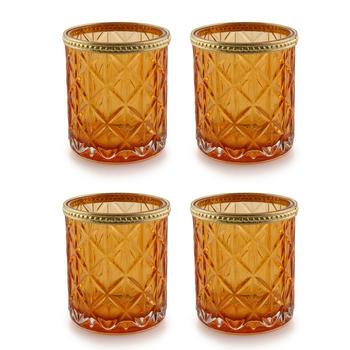 Set of 4 Amber Glass Votive