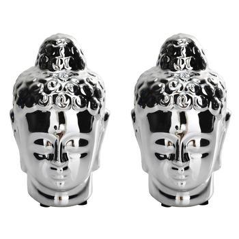 Set of 2 Small Silver Buddha Head