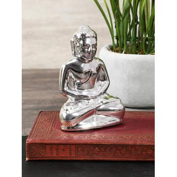 Set of 2 Silver Meditating Buddha Statuette