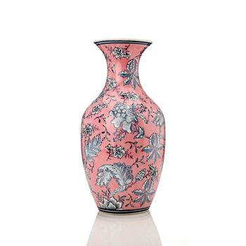 Large Pink and Grey Floral Ceramic Vase