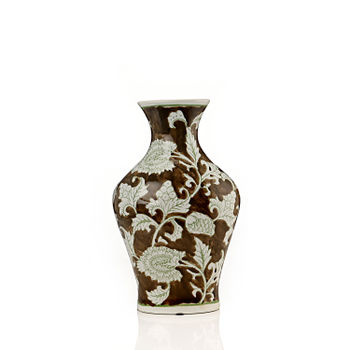 Brown and White Floral Ceramic Vase