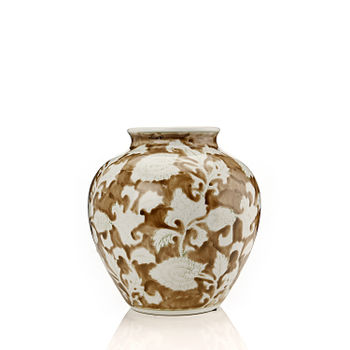 Brown and White Floral Decorative Vase