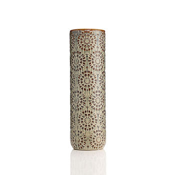 Large Grey and Brown Floral Textured Vase