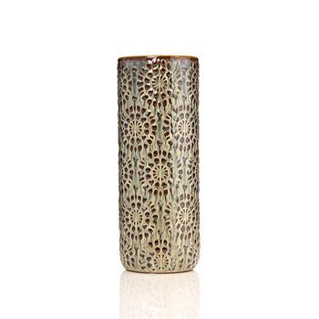 Medium Grey and Brown Floral Textured Vase